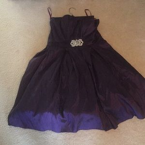 Royal purple strapless hoco dress